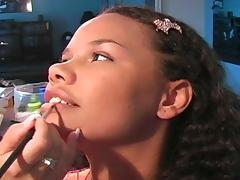 Beauty ebony Kimberley is getting a makeup