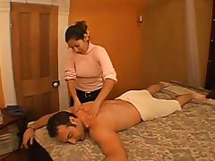 Perverted masseur girl is rubbing and sucking her client tube porn video