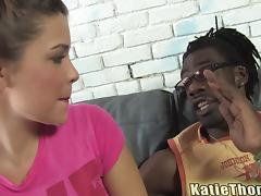 Sweet brunette babe gets fucked by a brutal Black guy