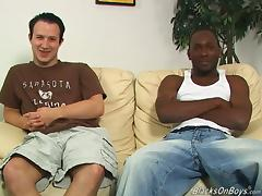 He helps his black man to put a condom on his cock tube porn video