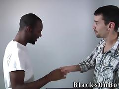 Homo is going to enjoy a huge black cock in his ass