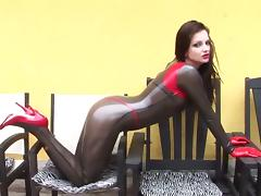 Awesome Sandra poses in her gorgeous latex