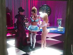 Two insatiable bitches in costumes share a hard shaft indoors tube porn video