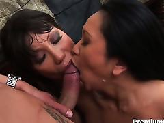Couple of busty horny moms playing with enormous hard boner