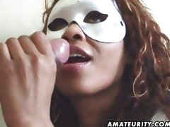 Masked amateur wife sucks cock with facial tube porn video