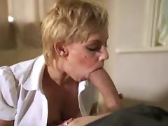 sexy blonde with big tits blowjob