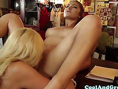 MILF Dani Daniels and petite babe lez fun