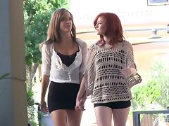 Kinky ones in mini skirts will have lesbian passion
