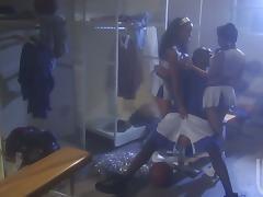 Two Cheerleaders Banged in a FFM Ebony Threesome