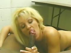 Ball Licking, Blonde, Blowjob, Couple, Facial, Interracial