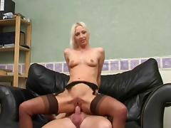 British MILF amateur anal in stockings. tube porn video