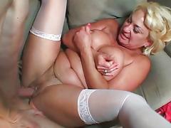 Blond MILF white stockings cunt fuck