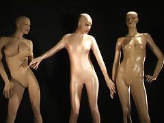 Solo scene with slender babe in latex Sylvia