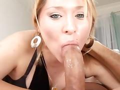 Sexy blonde Kayla Marie is sucking a dick porn tube video