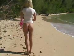 Curvy sex doll Alison Angel is posing naked on the beach tube porn video