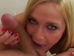 Smiling blonde Mckenzee Miles is getting cum