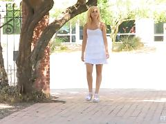 Blonde Flashes Her Natural Tits And Shaved Pussy In Public