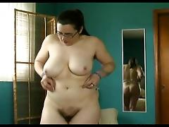 chubby hairy pussy, hairy pits, big tits trys on lingerie