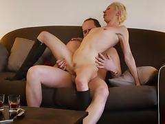 Sexy short-haired blonde is sucking so sweet