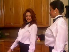 Two petite waitresses are going to share a cock in the kitchen