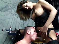 Hardcore shemale Vivian C and bald man tube porn video