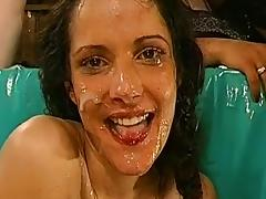 Maria and Ramona are swallowing big loads of cum