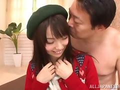 Petite Minami Hirahara gets her bald pussy licked and fucked