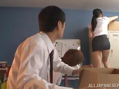Teacher, Adorable, Asian, Blowjob, Cumshot, Double