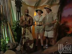 African tribe warrior is fucking a National Geographic scientist porn tube video