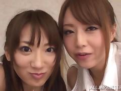 Lean back and enjoy what two Japanese dolls do to your cock