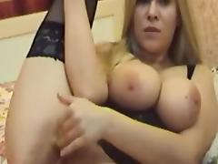 Busty babe BondsBlonde poses in her corset tube porn video