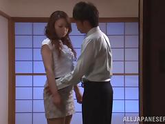 He bends her over and tickles her Asian twat