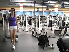 Solo clip of Aiden demonstrating her pussy and tits in a gym