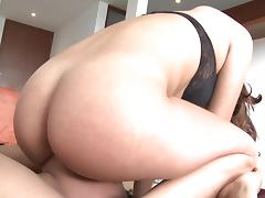 Curly chick is sitting on the face so sexy