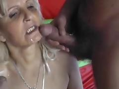 BLONDE HUNGARIAN GRANNY FUCKED BY 2 MEN - DP tube porn video
