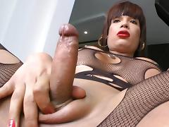 Sexy shemale Cristalina stretches her anal tube porn video
