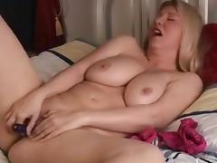 Adorable blond mother i'd like to fuck stimulates her clitoris in solo