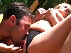 Sweet double blowjob by sensual blonde