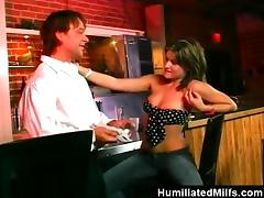 Slutty MILF gives a rimjob and gets fucked rough in a bar tube porn video