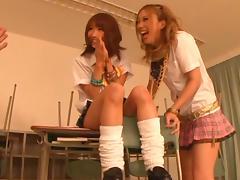 Amazing Japanese teen Rena Konishi in a hot threesome tube porn video