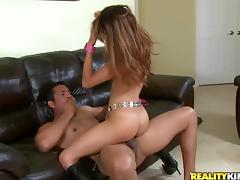 Skinny Veronica Rodriguez sucks a prick and jumps on it ardently