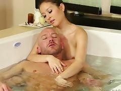 Bathing, Bathing, Blowjob, Brunette, Handjob, Pool