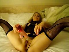 Gina the slutwife masturbating with her toy & husband films