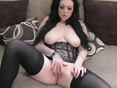 Busty brunette Harmony is sucking a big pole