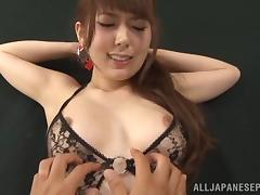 Sugary Asian milf Yui Hatana gives hot blowjob gets drilled by toys