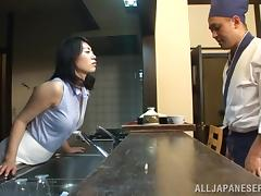 Japanese Waitress Fucked Doggystyle by a Chef porn tube video