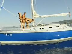 Three hot dudes fuck on the boat