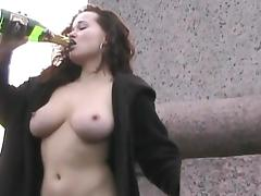 Public, Brunette, Curly, Drinking, Drunk, Flashing