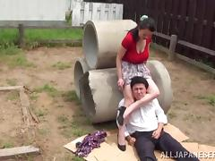 hot sexy japanese lady dominates her man outside