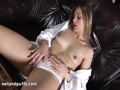 Hot Hanna Hammers Her Pussy with a Big Glass Toy